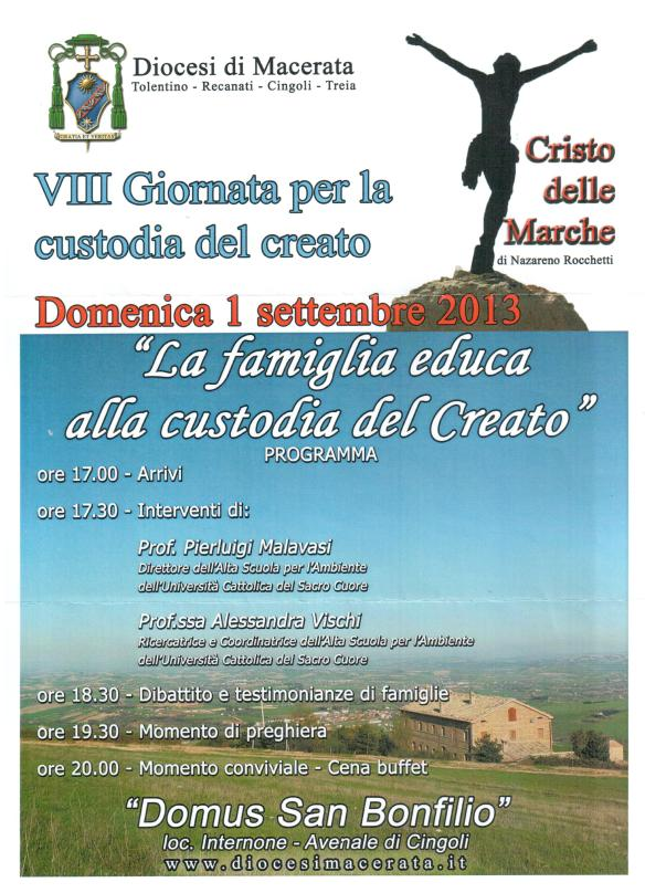 Diocesi di MACERATA 8^GIORNATA CUSTODIA del CREATO 1° settembre 2013
